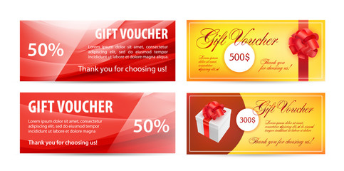 Vector set of gift vouchers. Wavy silk background, red color, realistic present