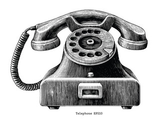 Vintage telephone hand draw clip art isolated on white background
