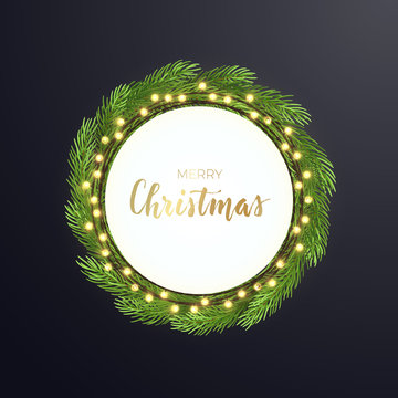 Round Christmas design with light bulb garland and green fir tree wreath on dark backround. Vector illustration. Template for banner, card or flyer.