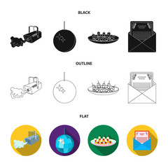 A video camera with smoke, a twirling holiday ball, a plate of sandwiches, an envelope with a greeting card. Event services set collection icons in black,flat,outline style vector symbol stock