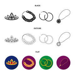 Tiara, gold chain, earrings, pendant with a stone. Jewelery and accessories set collection icons in cartoon style vector symbol stock illustration web.