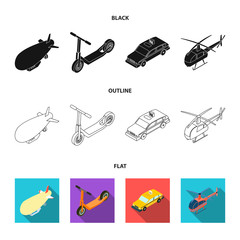 A dirigible, a children scooter, a taxi, a helicopter.Transport set collection icons in cartoon style vector symbol stock illustration web.