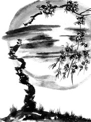 Sakura tree on the background of the Moon. Monochrome watercolor and ink illustration in style sumi-e, u-sin. Oriental traditional painting.