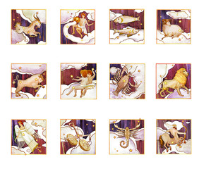 Set of twelve signs of the zodiac, watercolor in retro style. Isolated on a dark  pattern background