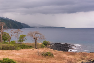 Sao Tome, beautiful landscape, panorama in the north of the island, Lagoa Azul