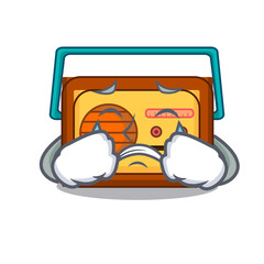 Crying radio mascot cartoon style