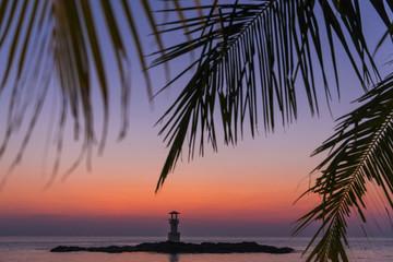 Leuchtturm von Khao Lak in der Abendstimmung, Thailand