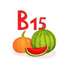 Food with vitamin B15 pangamic acid . Ripe watermelon and pumpkin. Natural and organic products. Flat vector for mobile app