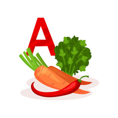 Products with lots of vitamin A carrot, red pepper and kale. Natural and healthy food. Flat vector for infographic poster