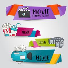 Movie cinema theme. Horizontal banner template set.  Modern hand drawn doodle design. Vector illustrator.