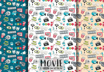 Movie cinema design. Seamless pattern set. Film theme background paper. Vector illustrator.