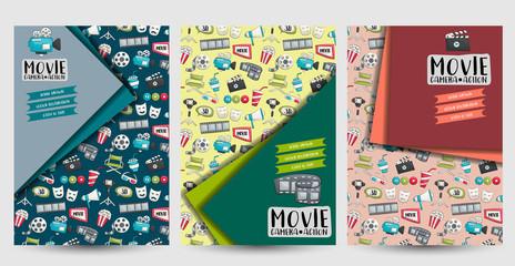 Movie cinema set of flyers. Printable brochure template. Vector illustrator.