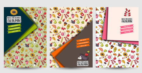 Autumn season set of flyers. Printable brochure template. Vector illustration.