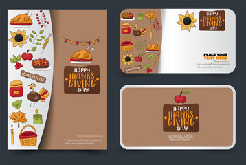 Thanksgiving flyer and banner or business card set. Poster template for a party invitation. Calligraphic inscription. Vector illustration.