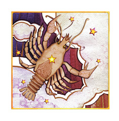 Astrological sign of the zodiac Cancer watercolor in retro style, on a dark  pattern background