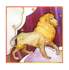 Astrological sign of the zodiac Leo, watercolor in retro style, on a dark  pattern background