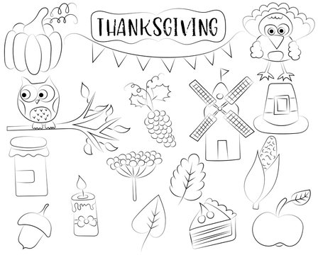 Thanksgiving holiday icon set. Autumn harvest design concept. Black and white outline coloring page kids' game. Vector illustration.