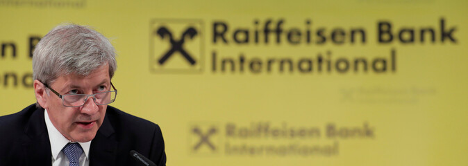 Raiffeisen Bank International CEO Strobl addresses a news conference in Vienna
