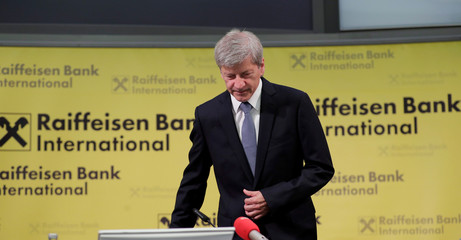 Raiffeisen Bank International CEO Strobl arrives for a news conference in Vienna