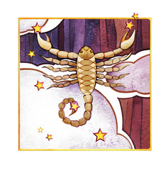 Astrological sign of the zodiac Scorpion, watercolor in retro style, on a dark  pattern backgro