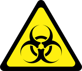 Yellow warning sign with biohazard substances