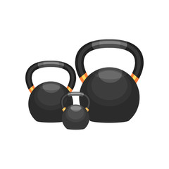 Ball-shaped weights for bodybuilding, fitness and weightlifting. Sport equipment. Flat vector for promo poster or banner of gym