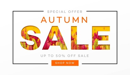Banner for autumn sale in frame from leaves. Vector illustration