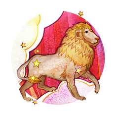 Astrological sign of the zodiac Leo, watercolor in retro style, on a round  pattern background