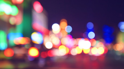 Blurred city lights at night, color toning applied, Las Vegas, USA.