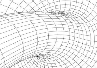 Tunnel or wormhole. Digital 3d wireframe tunnel. 3D tunnel grid. Network cyber technology.