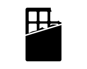 black chocolate bar snack culinary food eat image vector icon logo