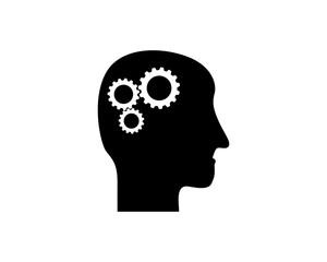 silhouette head brain think mind genius image vector icon logo