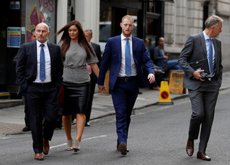 England cricket player Ben Stokes and his wife Clare Ratcliffe arrive Bristol Crown Court with his legal team, in Bristol