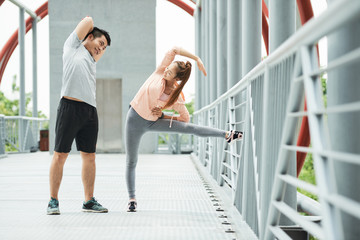 Exercising young couple