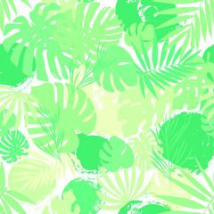 Seamless tropical palms pattern. Exotic. Green colors. Background for fashion, interior, stationery, web.