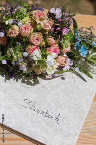 Deko Hochzeit Heiraten Ringe Ehering Stammbuch Brautsstrauss Auf