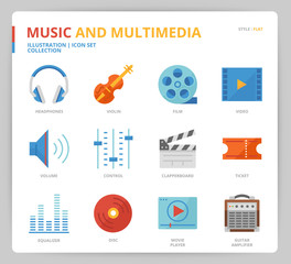 Music and multimedia icon set