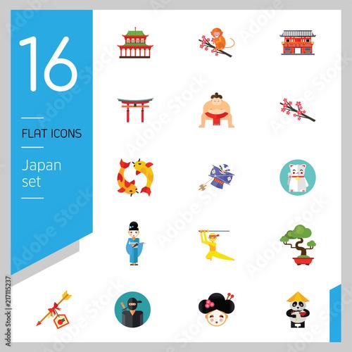 Japan Icon Set. Japanese Kite Japanese Cranes Torii Gate Bonsai Tree ...