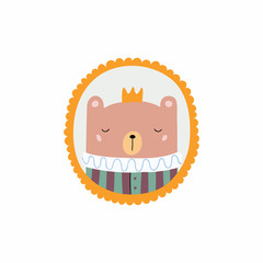 Hand drawn vector illustration of a cute funny portrait in a frame of king bear. Isolated objects. Scandinavian style flat design. Concept for children print.