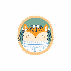 Hand drawn vector illustration of a cute funny portrait in a frame of Victorian young lady fox. Isolated objects. Scandinavian style flat design. Concept for children print.