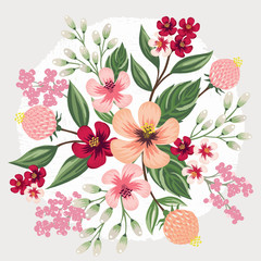 Vector illustration of a beatiful floral bouquet in spring for Wedding, anniversary, birthday and party. Design for banner, poster, card, invitation and scrapbook