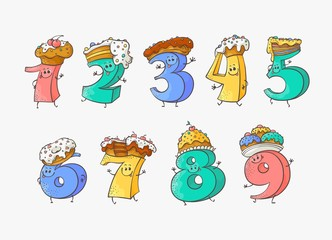 Cute number cartoon characters with sweet cakes and pies for hats set - funny hand drawn comic mathematical elements for children birthday invitation or teaching in isolated vector illustration.