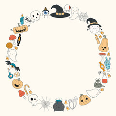 Foto op Canvas Illustraties Hand drawn vector illustration of a kawaii funny Halloween wreath, with pumpkins, ghosts, candy, witch hat, moon, copy space. Isolated objects. Line drawing. Design concept for print, card, invitation