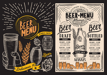 Beer drink menu for restaurant and cafe. Design template with hand-drawn graphic illustrations. Vector beverage flyer for bar.