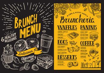 Brunch menu. Food flyer for restaurant and cafe. Design template with vintage hand-drawn illustrations.