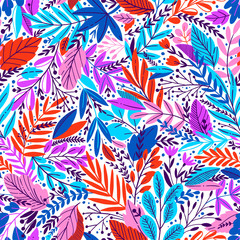 Bright tropical leaf seamless pattern.