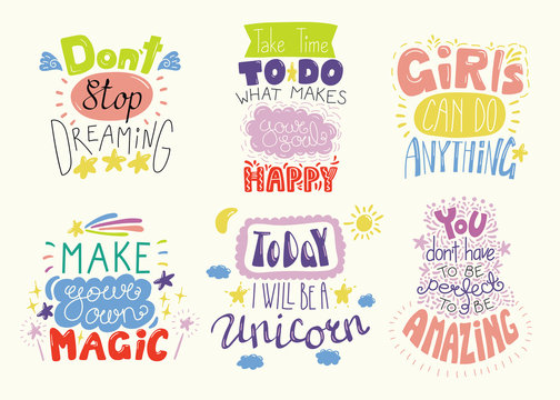 Set of hand written inspirational lettering quotes. Isolated objects. Hand drawn colorful vector illustration. Design concept for t-shirt print, motivational poster.