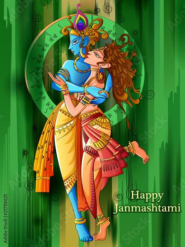 Lord Krishna playing bansuri flute with Radha on Happy
