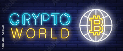 Crypto world neon text with bitcoin and globe sign  Technology and