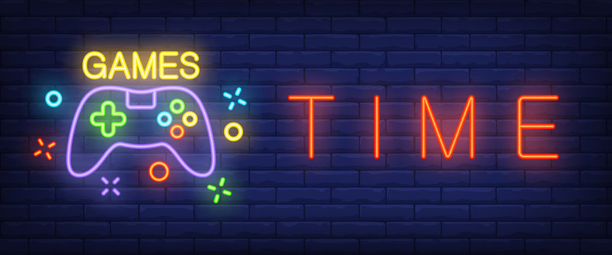 Games time neon text with gamepad. Technology and entertainment concept. Advertisement design. Night bright neon sign, colorful billboard, light banner. Vector illustration in neon style.